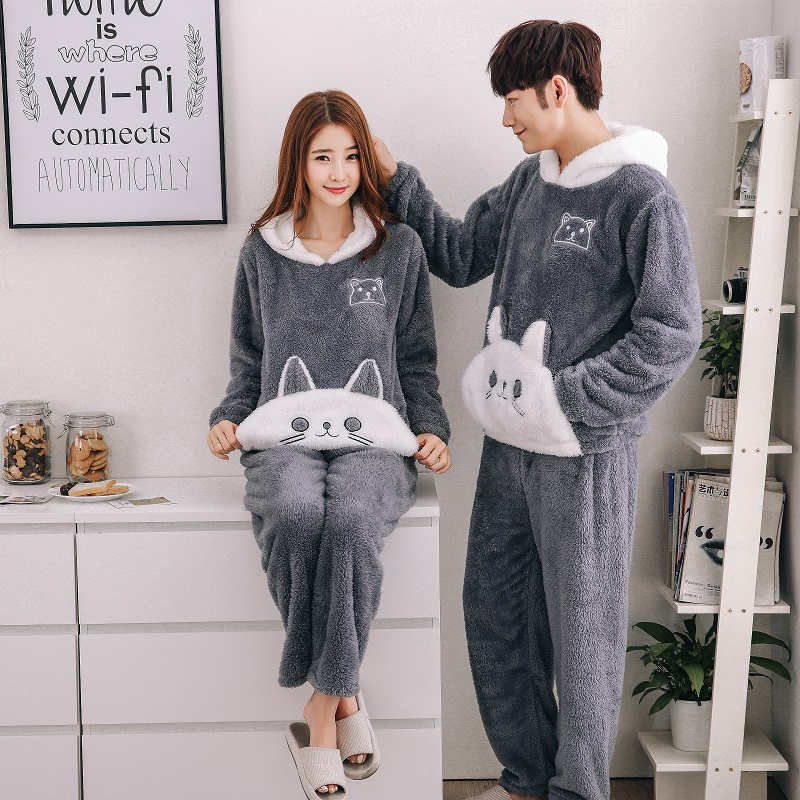 2019 Flannel Couples Plush Pajamas Set Winter Thicker Hooded Men Pyjama Set Long Pants Cat Animal Cartoon Printed Pijamas Hombre