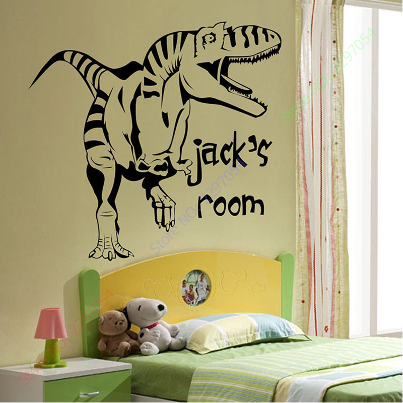 Cartoon Removable Vinyl Wall Stickers For Kids Rooms Personalised Dinosaur  Giant Wall Art Children Sticker Murals Decals In Wall Stickers From Home U0026  Garden ...