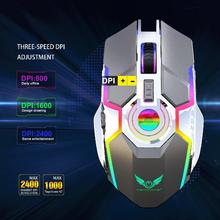 DSstyles Mouse Gamer Rechargeable Wireless Silent Ergonomic Gaming RGB Backlight for Laptop Computer