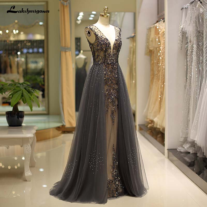 luxury Beading Grey Evening dresses A-Line soft tulle Prom Party ...