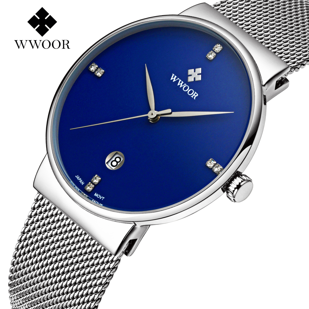 все цены на  Watches Men WWOOR Brand Men Quartz Ultra Thin Date Clock Male Waterproof Sports Watch Gold Casual Wrist Watch relogio masculino  в интернете
