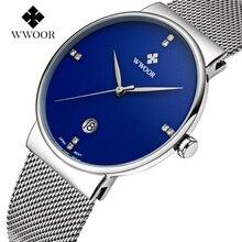 Relojes Hombres WWOOR Marca Hombres Fecha De Cuarzo Ultra Delgado Reloj Masculino Impermeable Reloj Deportivo Informal de Oro Reloj de Pulsera relogio masculino