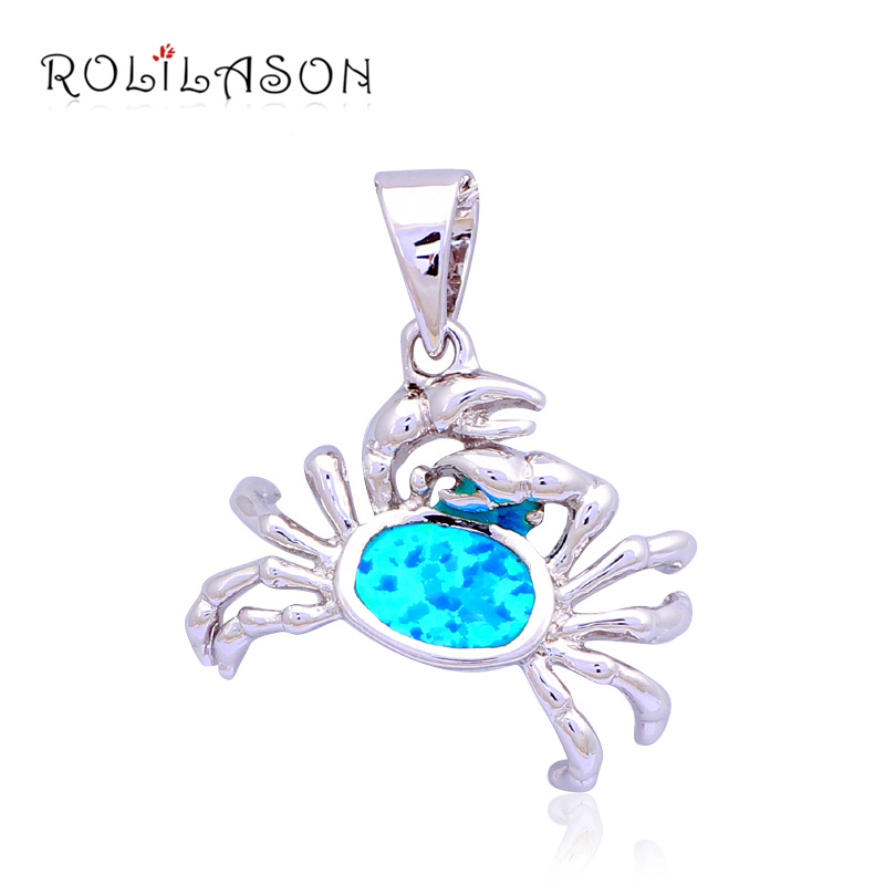 Popular Crab High quality Wholesale Retail Blue fire Opal Fashion jewelry Silver Stamped Necklaces & Pendants OP454