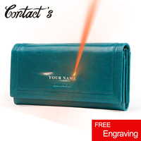 Contact's Long Clutch Wallets for Women Coin Purse Phone Pocket Genuine Leather Female Wallet Card Holder Money Bag Carteira