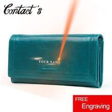 Cartera de mano larga para mujer, billetera de cuero genuino con bolsillo para teléfono, tarjetero