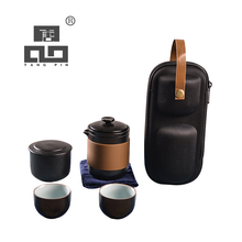 TANGPIN japanese black crockery ceramic teapot teacups tea canister portable travel sets with bag