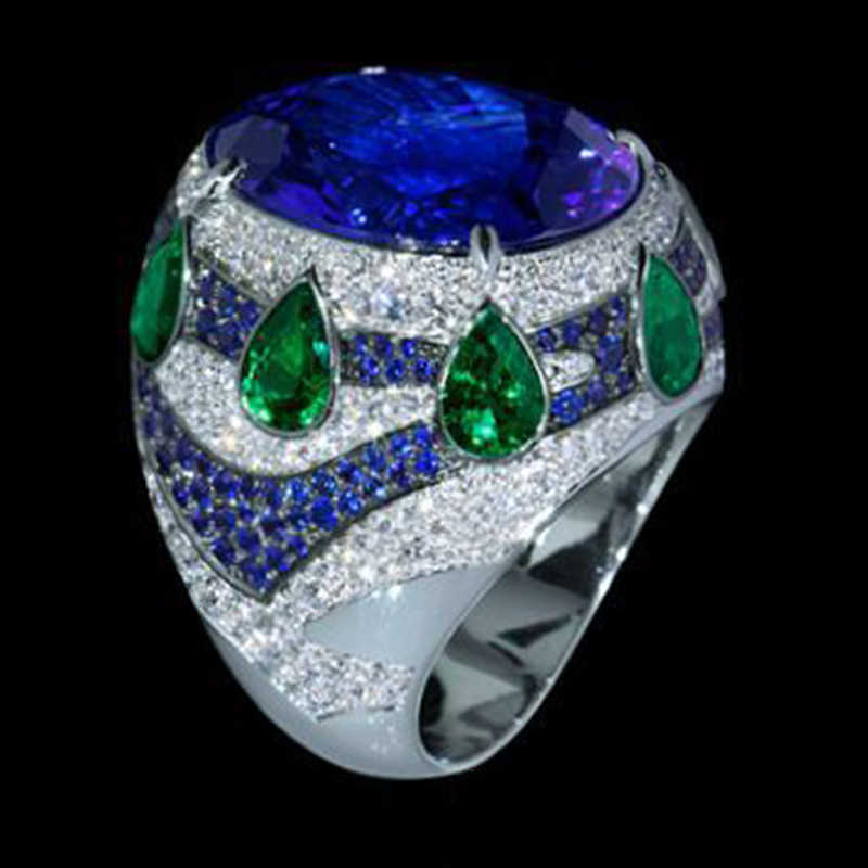 ファッションブルークリスタルプリンセスリング女性のための水滴グリーン Aaa ジルコンストーンウェディング指輪自由奔放に生きるの宝石類のギフト