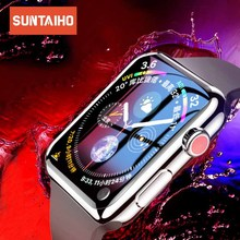 Suntaiho for Apple watch 4 Screen Protector 44/40 mm 3D PET Soft Full Protective Film 44mm Not tempered glass