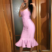 купить Seamyla New Sexy Spaghetti Strap Bandage Dress Women Fashion Mermaid Evening Party Dresses Knee Length Summer Bodycon Dress 2017 по цене 1396.41 рублей