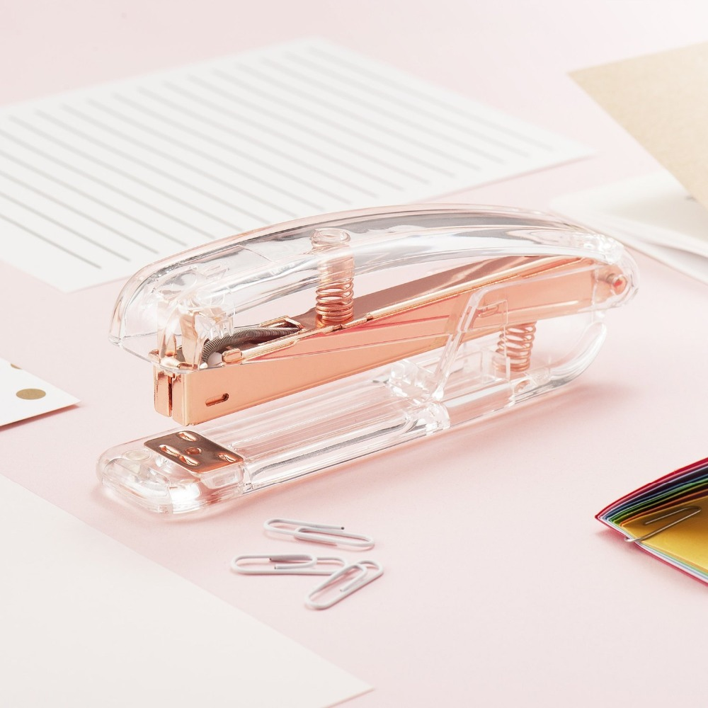 Luxury Rose Gold Manual Stapler With 1000pcs Staples Acrylic 24/6 Paper Stapler Office Accessories Binder Stationary Set luxury rose gold manual stapler with 1000pcs staples acrylic 24 6 paper stapler office accessories binder stationary set