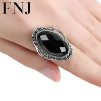 Big Black Red Stone Ring 925 Sterling Silver anillos Wedding Adjustable S925 Thai Silver Rings for Women