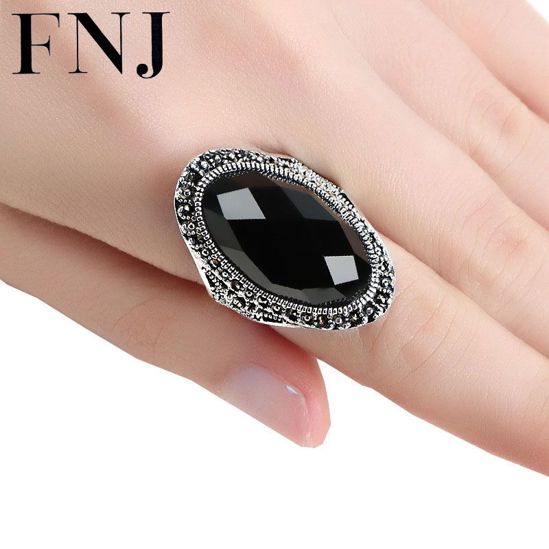 Gros Noir Bague En Pierre Rouge 925 En Argent Sterling anillos Mariage Réglable S925 Thaïlandais Bagues En Argent pour Les Femmes
