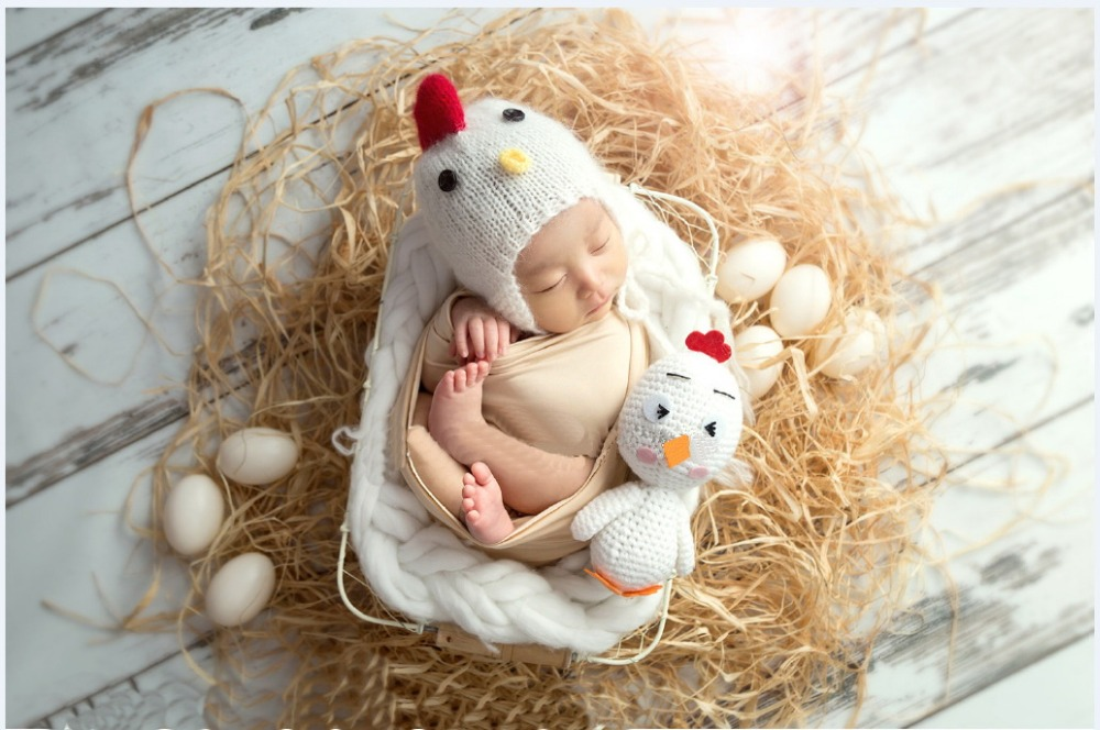 Baby Photography Props chicken rooster hat+doll Newborn Fotografia Accessories Infant Studio Shoot costume outfits
