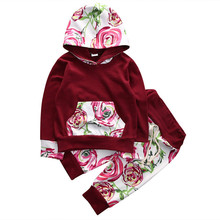 Fancy Hot Selling 2pcs Infant Baby Kids Boys Girls Outfits Hooded Hoodie Flower Pants Fashion Set Sweatshirt Clothes
