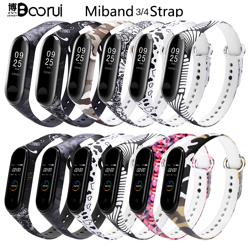BOORUI Newest Miband 3 Strap Colorful Miband 4 Strap Smart Accessories Silicone Wrist Strap Commonly Used In Miband 3 /4