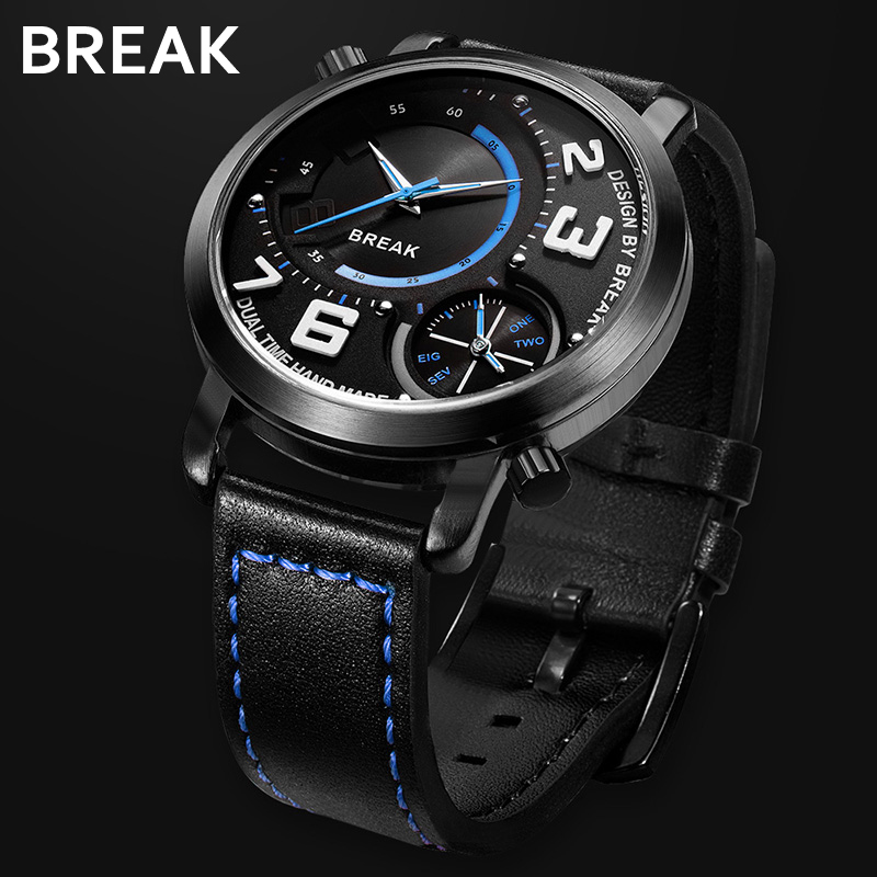купить BREAK Men Top Luxury Brand Black Leather Strap Classic Two Time Zone Sport Casual Business Fashion Analog Quartz Wristwatches