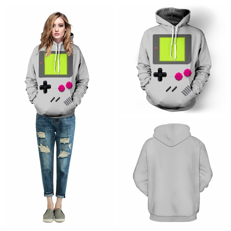 Grey PACMAN Games Skateboarding Hoodies Sport Autumn Winter Lady Sweatshirts Hooded Pullovers Pockets Long Sleeves Jacket FTQYDM