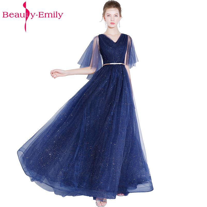 Beauty Emily Long A line Sequined   Bridesmaid     Dresses   2018 Women A-line Wedding Party Prom   Dresses