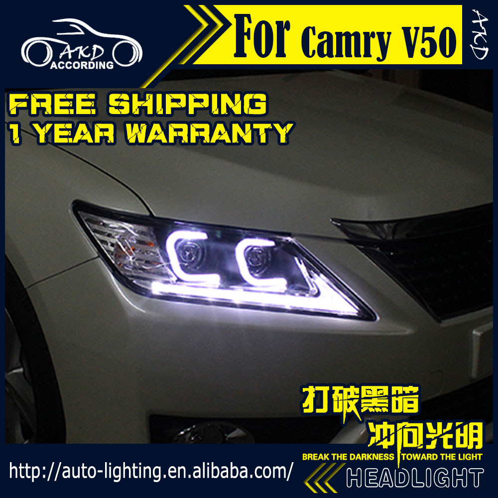 AKD Car Styling Head Lamp for Toyota Camry Headlights 2012 Camry V50 LED Headlight DRL H7 D2H Hid Option Angel Eye Bi Xenon Beam akd car styling for nissan teana led headlights 2008 2012 altima led headlight led drl bi xenon lens high low beam parking