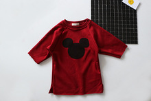 Girls plus velvet sweater children baby does not fall down in the long section of sweater cartoon shirt age from 18m-5T