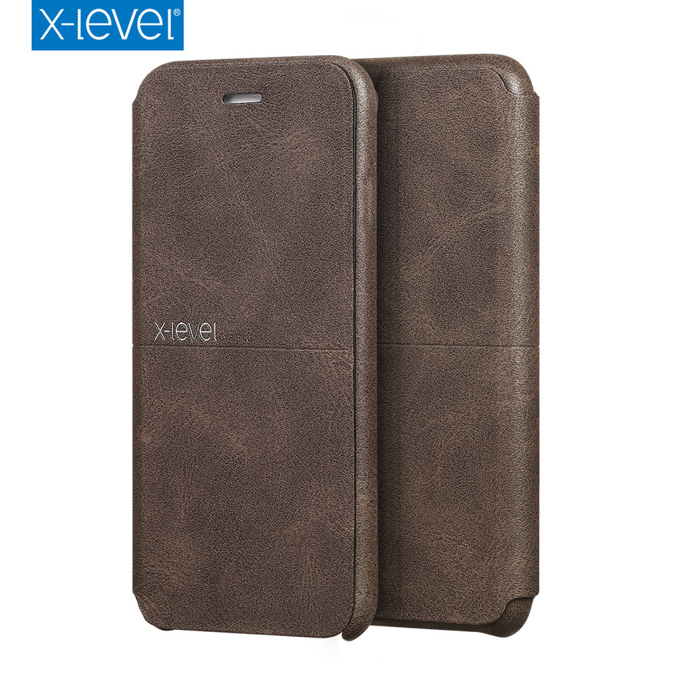 X-Level Luxury cowboy Ultra thin Nostalgia PU leather Flip Phone Case for iphone 7 plus ,Stand Leather Cover for iphone 7 case