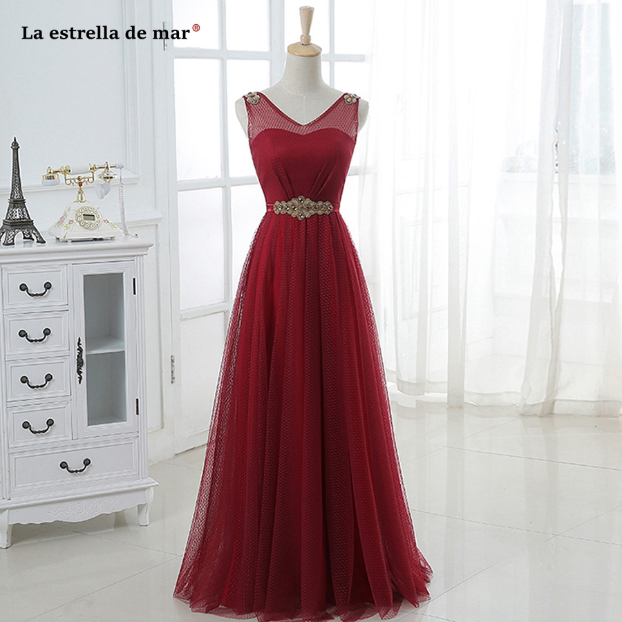 Vestido madrinha longo2019 new lace sexy V neck crystal A Line burgundy   bridesmaid     dresses   plus size robe demoiselle d'honneur