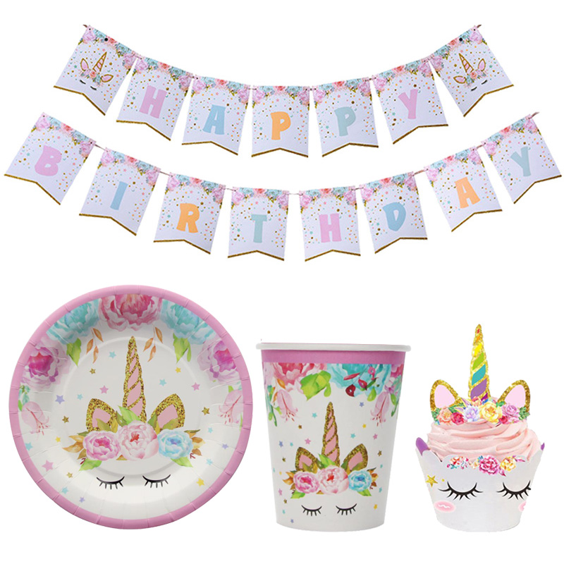Unicorn Party Happy Birthday Paper Banners Paper Cups Plate Napkin Tablecloth 1st Birthday Party Decoration Kids Party Supplies каталог party kids не танцуй