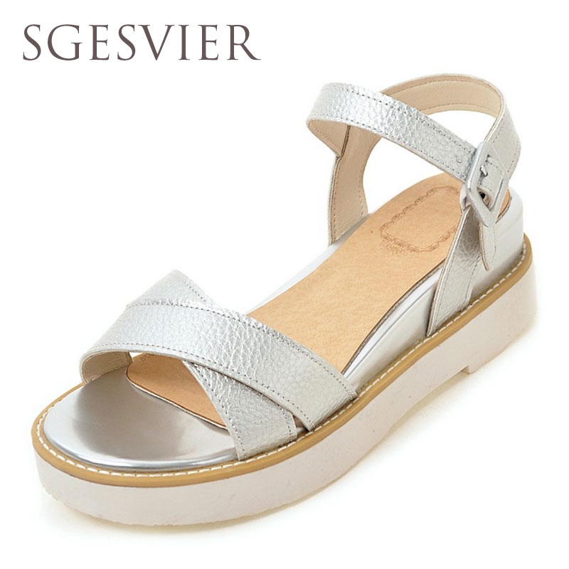 SGESVIER Summer shoes woman Hot Selling sandals women 2016 peep-toe flat Shoes Roman sandals Women sandals sandalias G888 women shoes summer women sandals 2017 peep toe gold silver roman sandals shoes platform brand creepers woman sandalias size 43