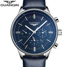 ساعات رجالية من Relogio Masculino Guanqin من أفضل العلامات التجارية الفاخرة ساعة كوارتز رياضية عسكرية للرجال بحزام جلدي ساعة يد للرجال