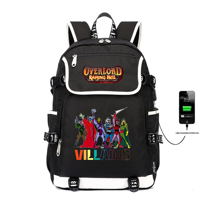 Japon anime Overlord sac à dos étudiant livre sacs USB sac de Charge hommes femmes voyage sacs ordinateur portable sac à dos