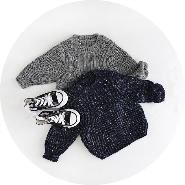 2017 Baby Girl Boy Clothes O-Neck Warm Sweater Children Toddler Kids Winter Autumn Pullover Knit Loose Top