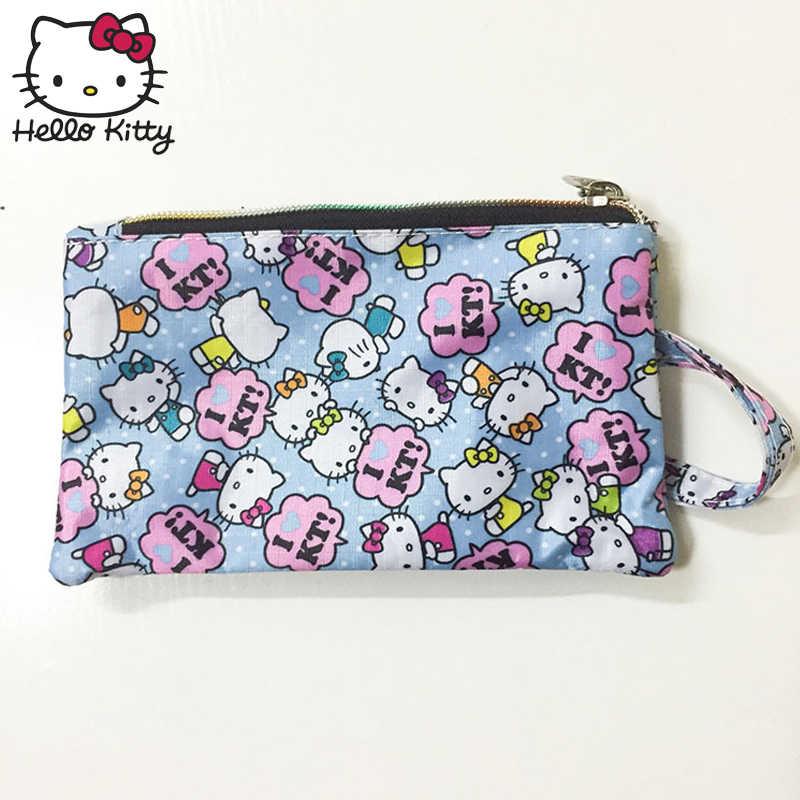Olá kitty bonito dos desenhos animados saco de maquiagem presente pingente bolsa feminina menina bolsa de embreagem saco de pulso compõem lavagem beleza menina mochila de pelúcia
