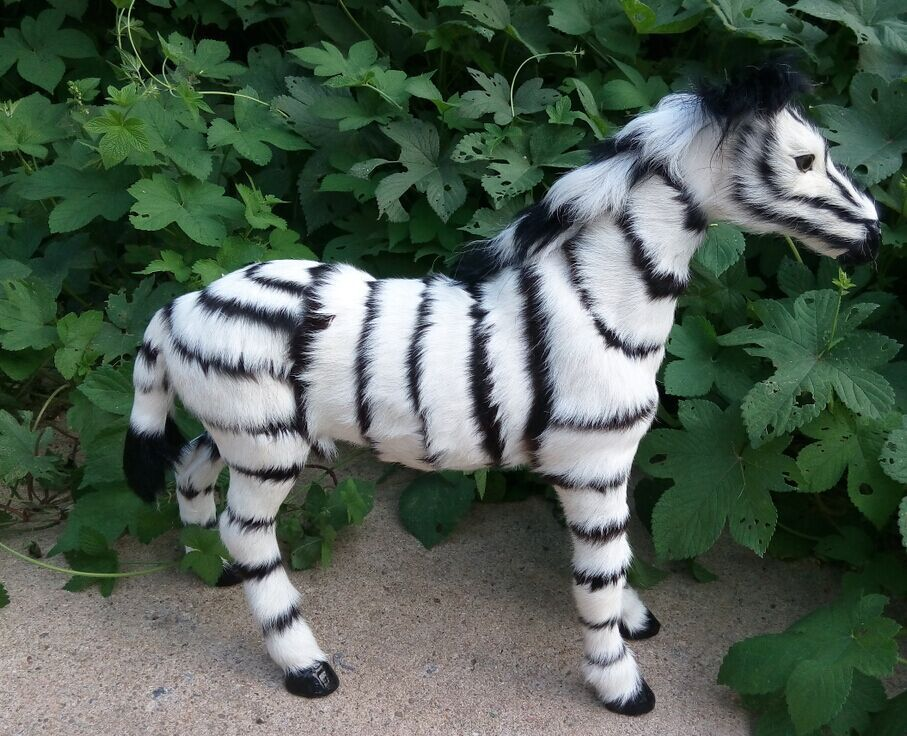 new big simulation balck&white zebra toy plastic&fur zebra doll gift about 49x43cm 2454 creative simulation antelope head toy plastic