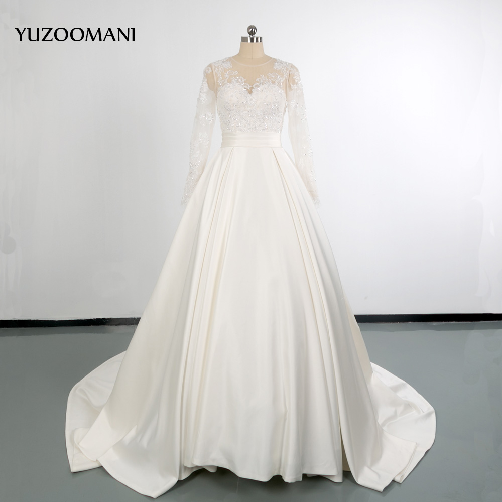 YUZOOMANI font b Bridal b font Sequin Ball font b Gown b font Lace button Stain