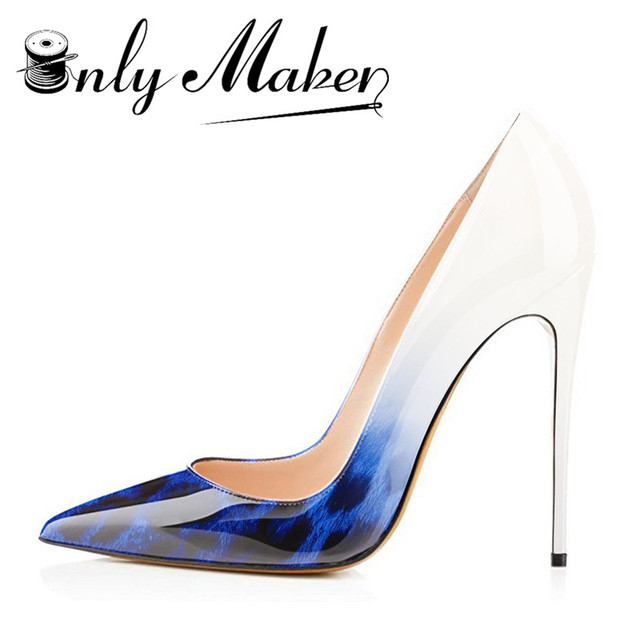 a79e5a688578 Onlymaker Blue and White Leopard Gradient Women s Sexy Pointed Toe shoes  12cm High Heel Slip On Pumps Large Size US15