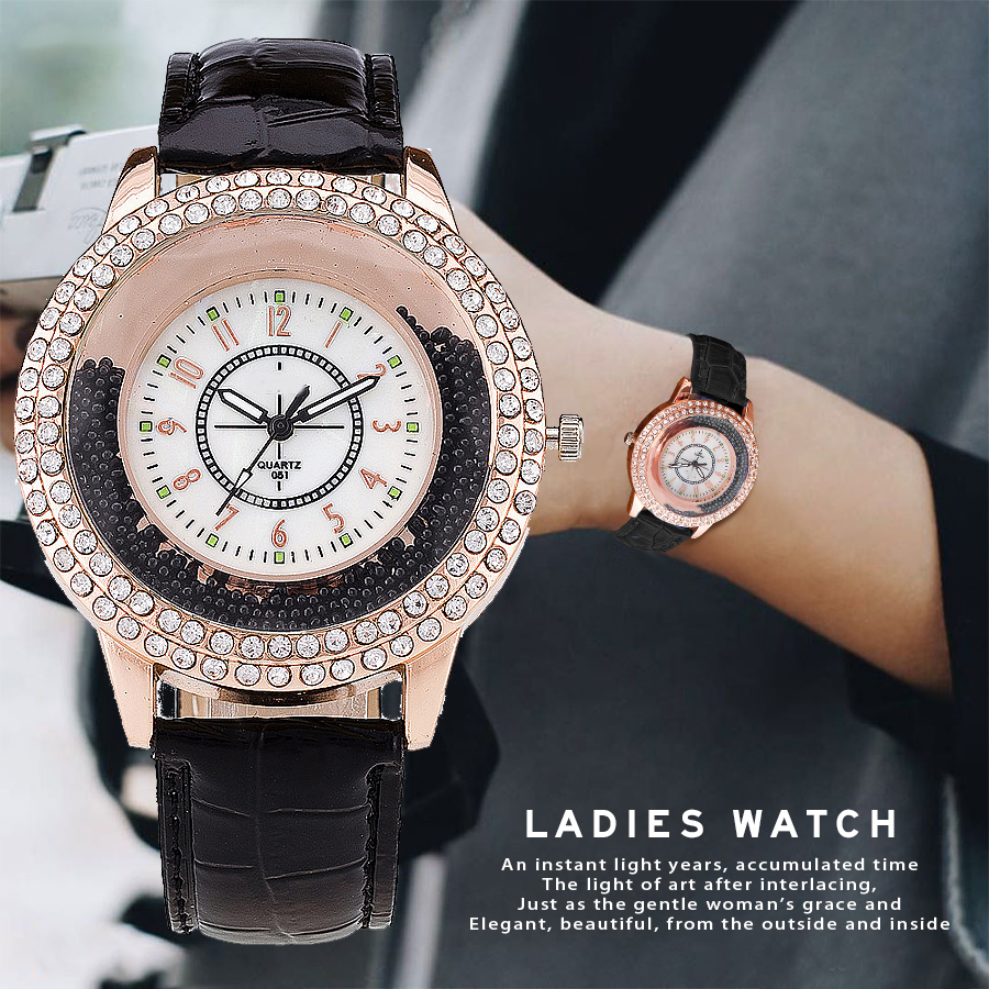 New Fashion Women Rhinestone Watch Leather Strap Quartz Watch Reloj Mujer Hot Women Dress Watch Relogio Feminino