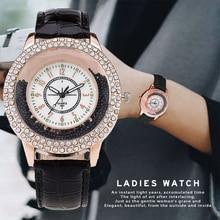 New Fashion Women Rhinestone Watch Leather Strap Quartz Watch
