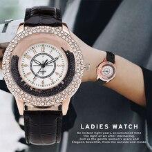 New Fashion Women Rhinestone Watch Leather Strap Quartz