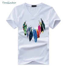 Tonlinker 2018 Summer The New Men T Shirt Short Sleeve V Neck Color Feather Print Tshirt Fashion Mens Cotton Cosy T-Shirt Tops