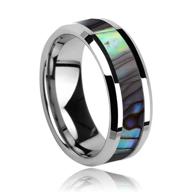 Hot Sell 8mm Tungsten Rings for Male/Boys High Polished Free Shipping Inlay Colorful Deep Sea Shells Size 7-11
