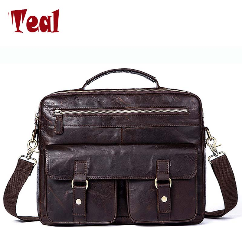 Genuine leather Business Bags Briefcases Vintage male Office Bags High Quality Natural Crazy Horse Skin Men Laptop Bag 2uz 2uzfe engine complete full gasket set kit for toyota land cruiser 100 4 7l 4664cc 1998 up 04111 50122 04111 50121 430595p