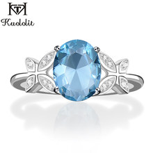 Kuololit Solid 925 Sterling Silver Rings For Women Natural Sky Blue Topaz Gemstone Ring Wedding Engagement Custom Name Ring(China)