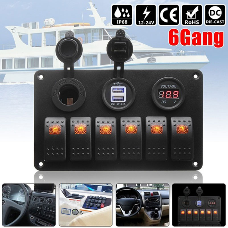 6 Gang Switch Panel Toggle Switch Truck Car Switch Durable Control LED