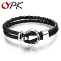 OPK Handmade Leather Weaved Man Bracelet Casual/Sporty Double Layer Stainless Steel Men's Charm Jewelry Good Quality PH978