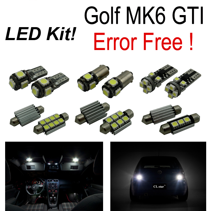 19pcs LED Interior Lights + Reverse lamp + parking city + Side marker bulb Kit for Volkswagen VW GOLF 6 MK6 MKVI GTI (10-14) 1pair led side maker lights for jeeep wrangler amber front fender flares parking turn lamp bulb indicator lens