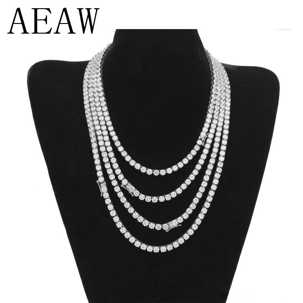 цена на AEAW 14 Inch Full Moissanite Necklace Solid 14K 585 White GoldDEF Color 6.5ctw Lab Creat Diamond Tennis Necklace For Women