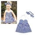 Bebês Crianças Meninas Do Bebê Roupas de verão Roupas Starped Partido Listrado Vestido de Princesa Vestido + Bow Hairband Conjuntos MT783