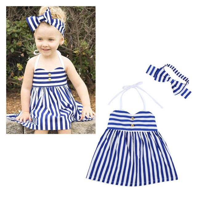 Bebés Niños Niñas Bebés Ropa de verano Roupas Starped Rayado Del Partido Princesa Vestido Vestido + Bow Hairband Conjuntos MT783