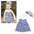 Summer Infants Kids Baby Girls Clothes Roupas Starped Party Striped Princess Dress Vestido +Bow Hairband Sets MT783