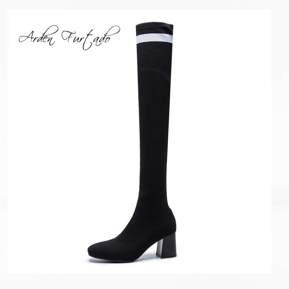 19b00d2f Rodilla Botas 2018 Arden Zapatos Mujeres Furtado Primavera Black Rayas  Gruesos De Las Moda Otoño Altos Sobre La Señoras Tacones Calcetines 1aqaW56w